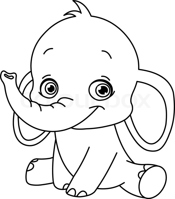 706x800 Outlined Baby Elephant Stock Vector Colourbox