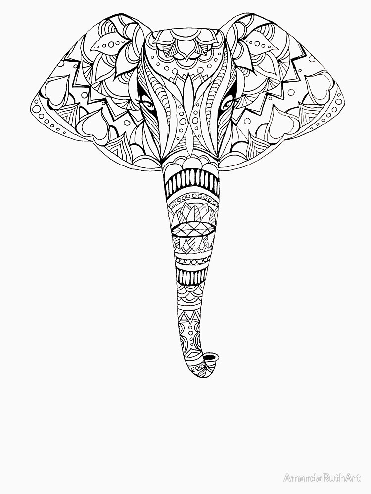 750x1000 Patterned Elephant Ink Drawing Unisex T Shirt By Amandaruthart