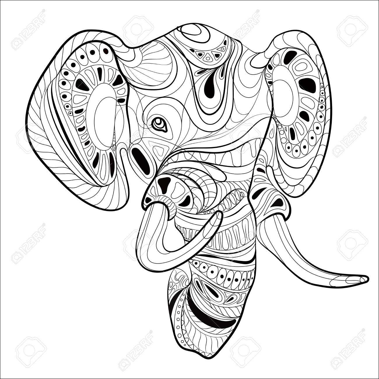 1300x1300 Stylized Head Of An Elephant. Ornamental Portrait Of An Elephant