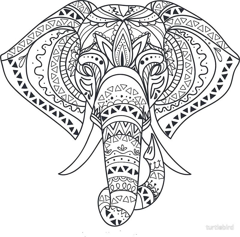 800x792 Tribal Tattooed Elephant Outline