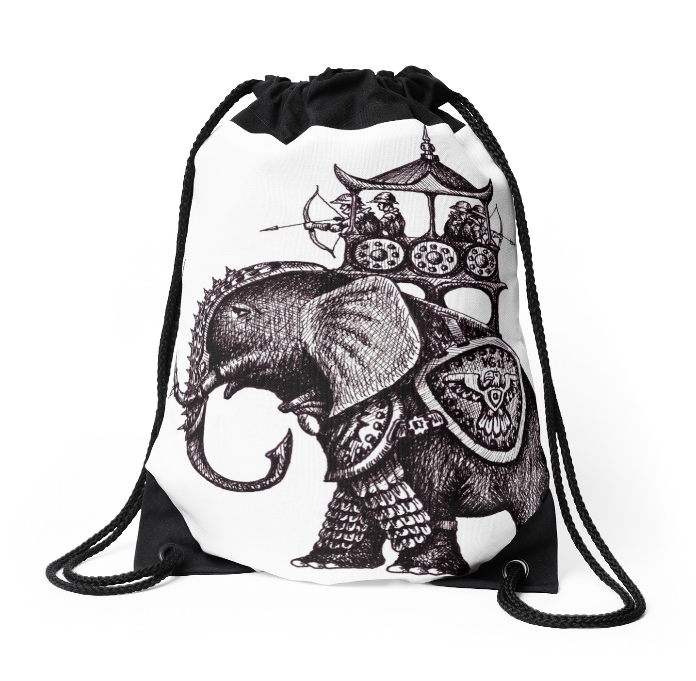 1435x1404 War Elephant Black And White Pen Ink Drawing Drawstring Bags By
