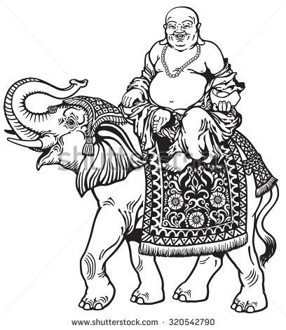 408x470 Lucky Buddha Riding Elephant Black And White Image Feng Shui