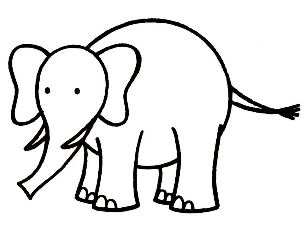 974x734 Coloring Pages Elephant Drawing Image Draw Coloring Pages