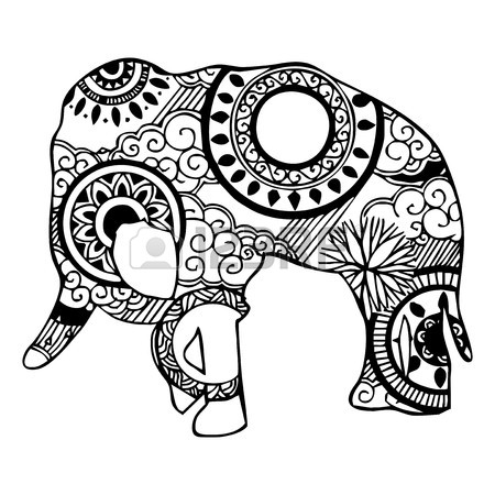 450x450 Elephant With Cloud And Rain Ornament Tattoo Royalty Free Cliparts