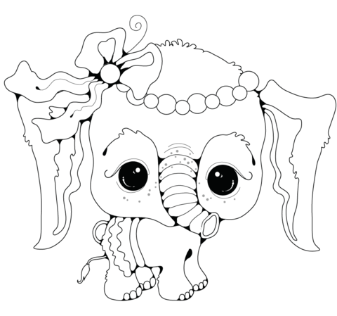 480x449 Baby Elephant Girl coloring page Free Printable Coloring Pages