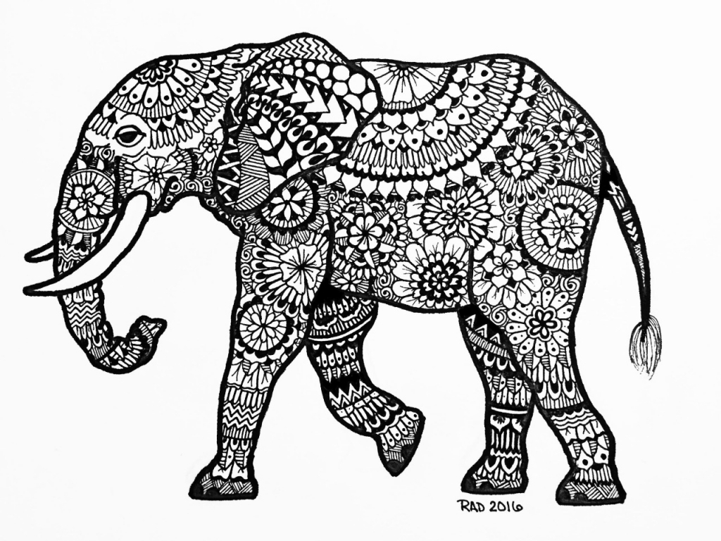 1024x768 Elephant Drawing Tumblr Zentangle Animals Elephant