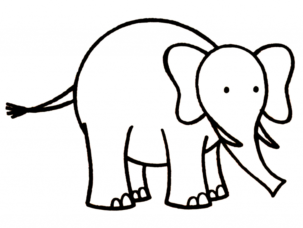 1024x771 Simple Elephant Drawing