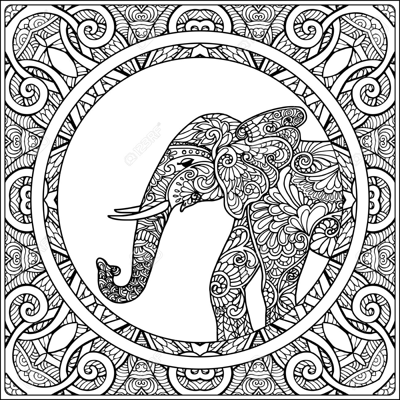 1300x1300 Coloring Page With Elephant In Decorative Mandala Frame. Coloring