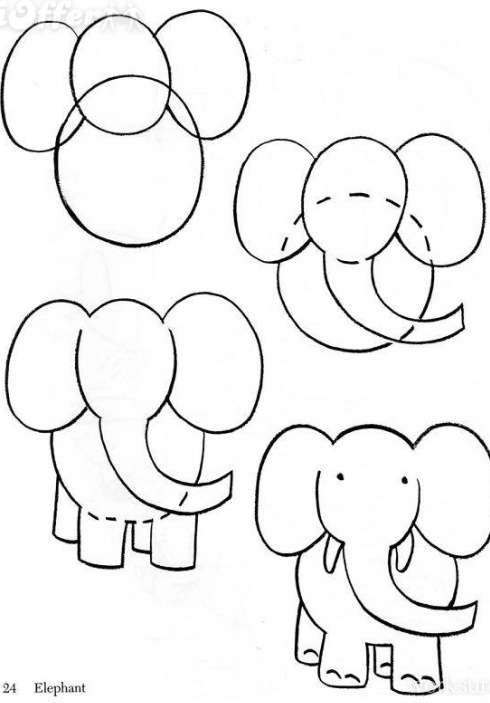 490x703 How To Draw A Simple Elephant How To Draw Drawings