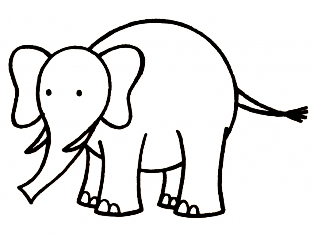 1024x771 Simple Drawing Of An Elephant Simple Elephant Drawing