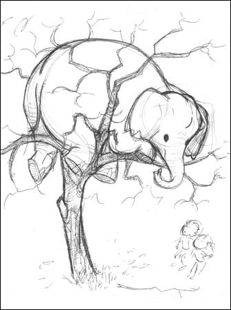 336x450 Three Men In A Tub Elephant In A Tree