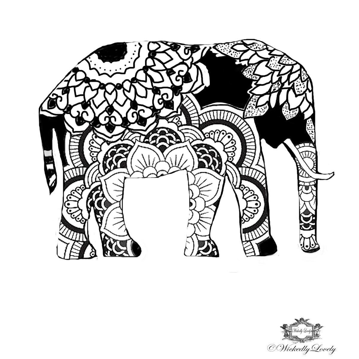 1200x1200 Aztec Elephant Clipart