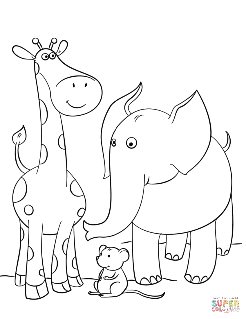 848x1098 Giraffe Mouse And Elephant Coloring Page Free Printable