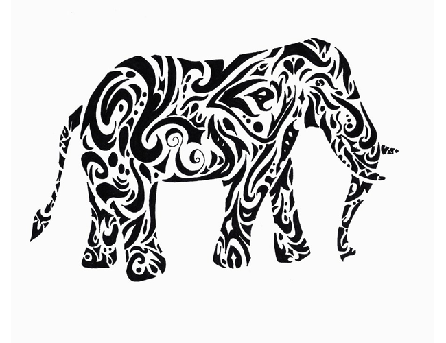 Line Drawings Of African Animals : Elephant drawing tribal at getdrawings.com free for personal use