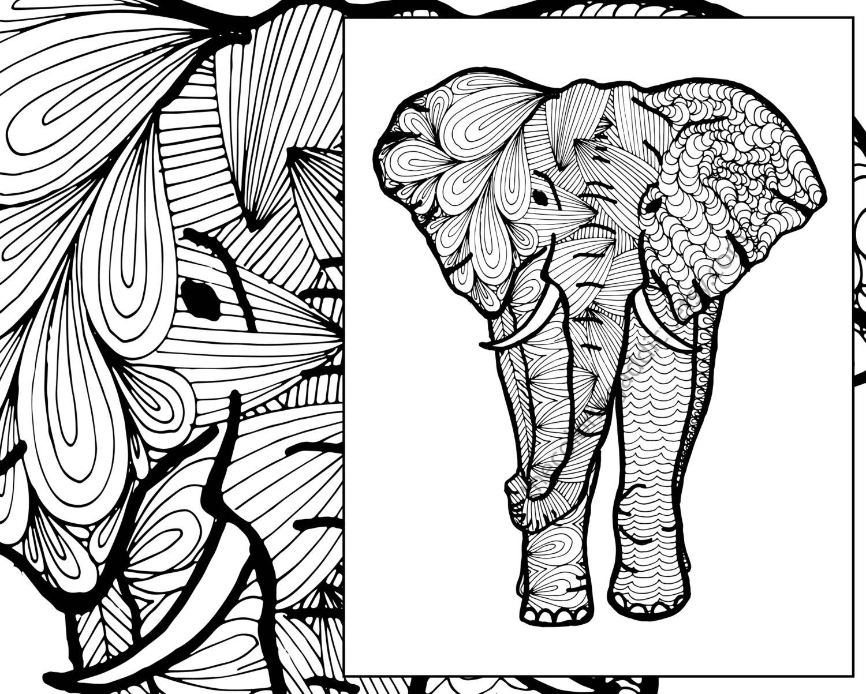 1500x1203 Elephant Coloring Sheet Animal Pdf Zentangle Adult