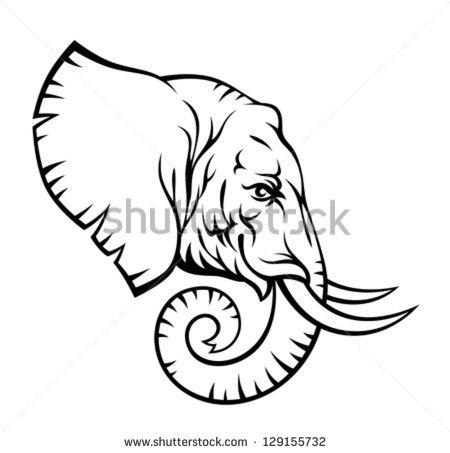 450x453 Drawn Elephant Side View
