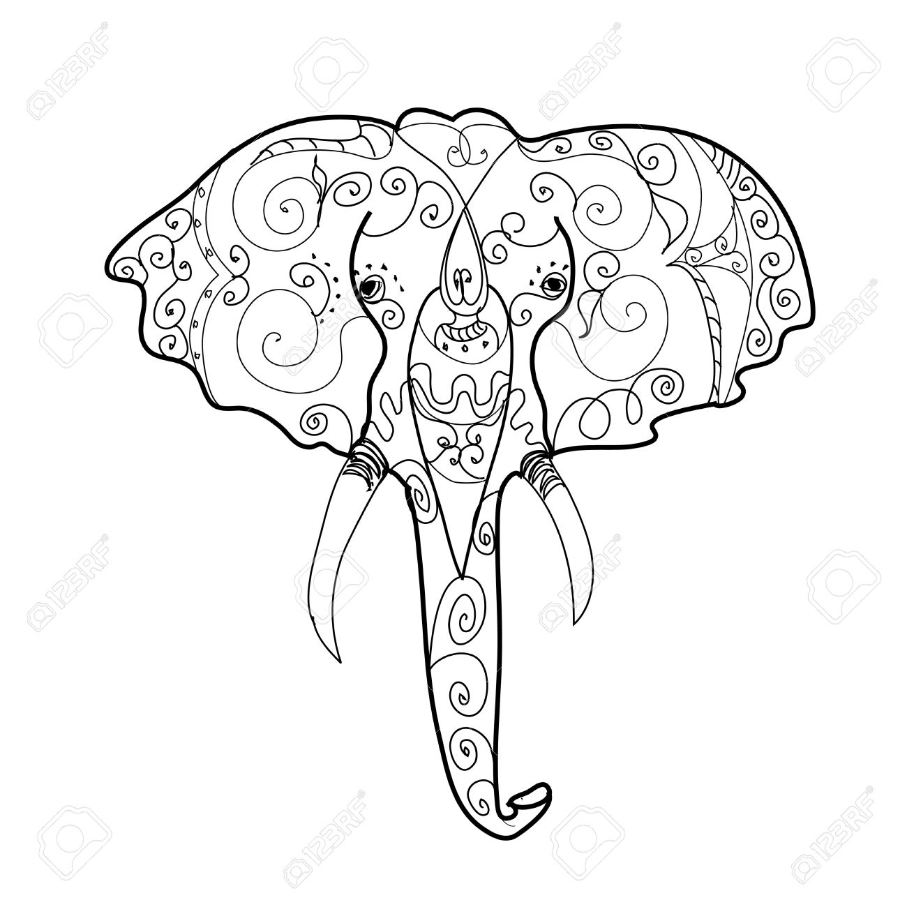 1300x1300 Elephant Drawing Trunk Up Drawn Elephant Front View