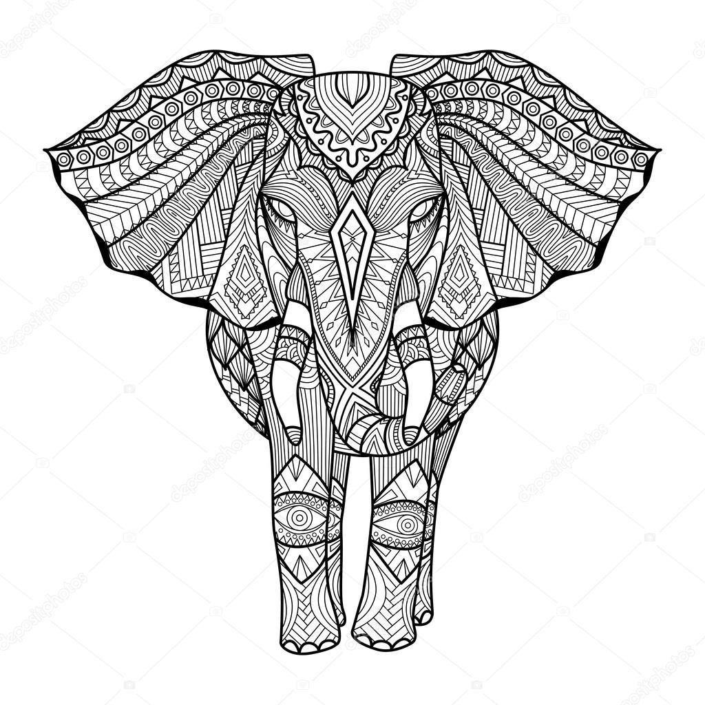 1024x1024 Elephant Tattoo Trunk Up Indian