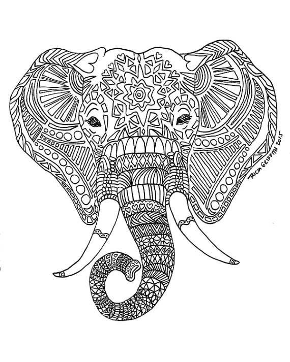 tribal elephant coloring pages for adults | Elephant Drawing Tumblr at GetDrawings.com | Free for ...
