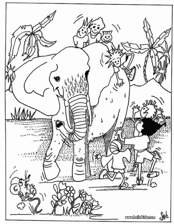 700x900 Kids And Elephant Coloring Pages