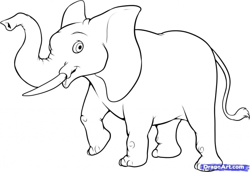 1024x707 How To Draw A Cartoon Elephant Draw An Easy Elephant Step Step