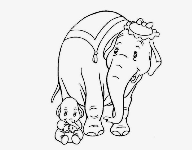 640x500 Colour Drawing Free Wallpaper Elephant Mom Baby Coloring