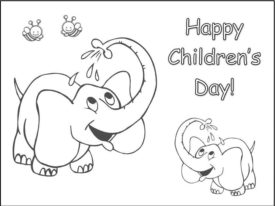 960x720 Happy Childrens Day Coloring Pages Of Baby Elephant Wallpaper