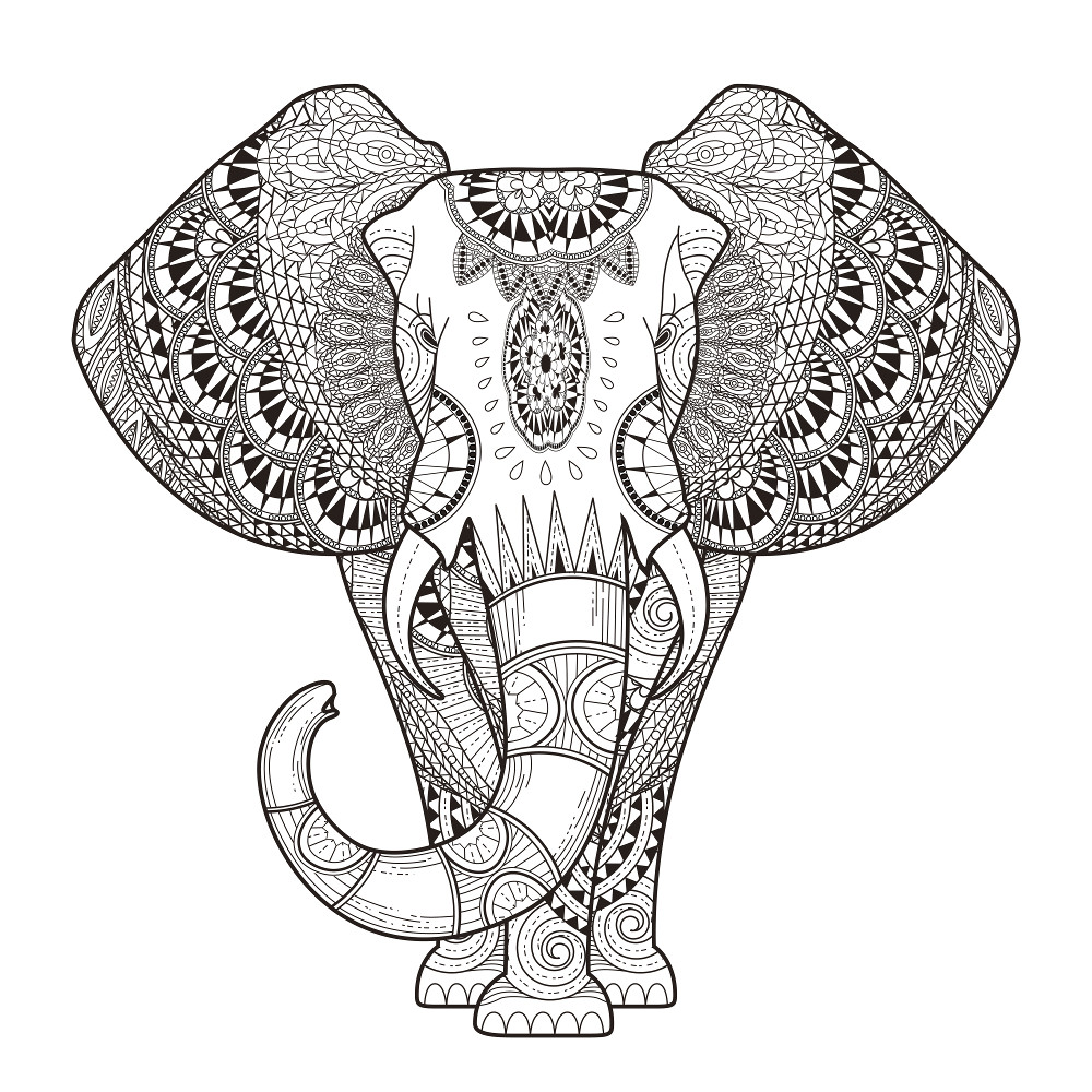1000x1000 Coloring Book Adult Pages Printable Elephant 2954 Mandala 1000
