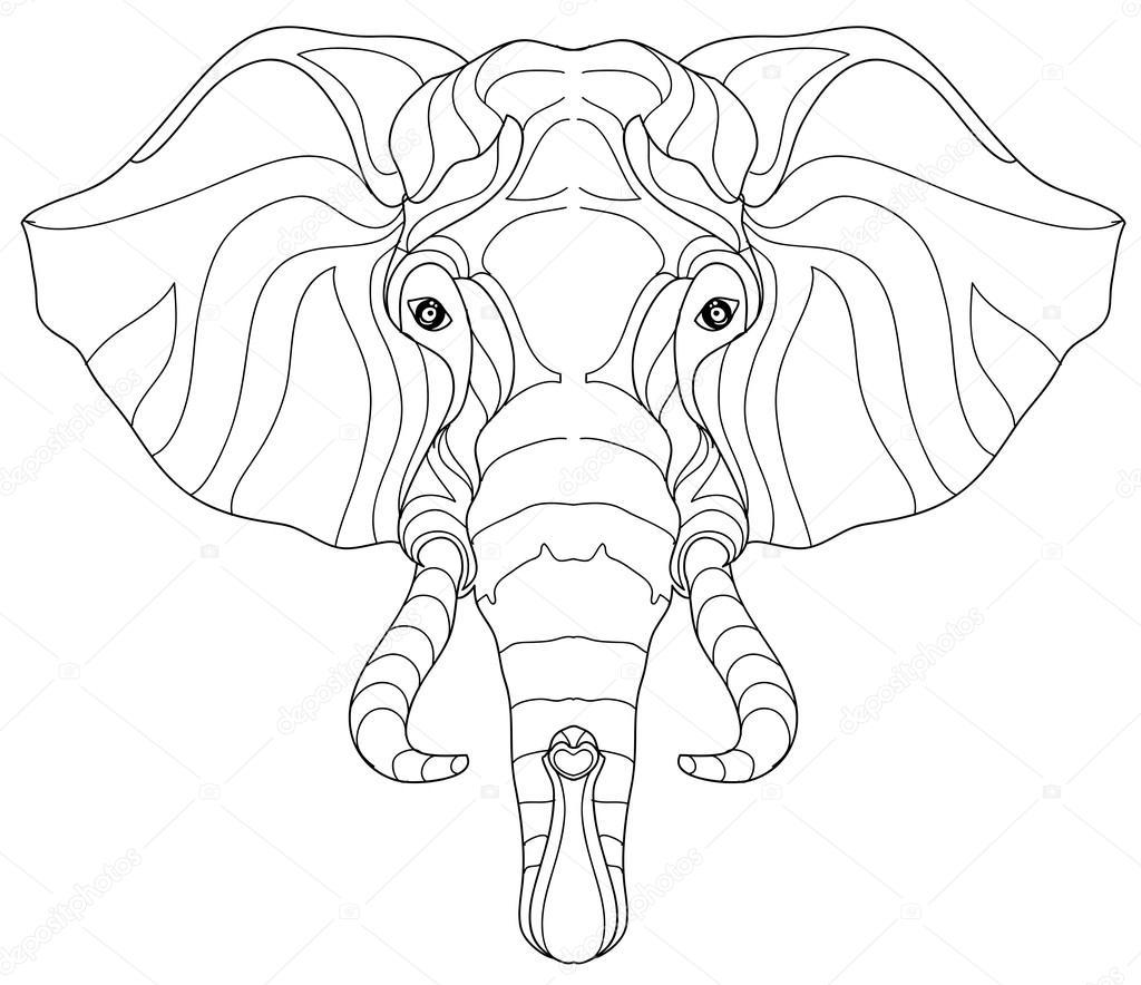 1024x884 Elephant Head Doodle On White Vector Sketch. Stock Vector