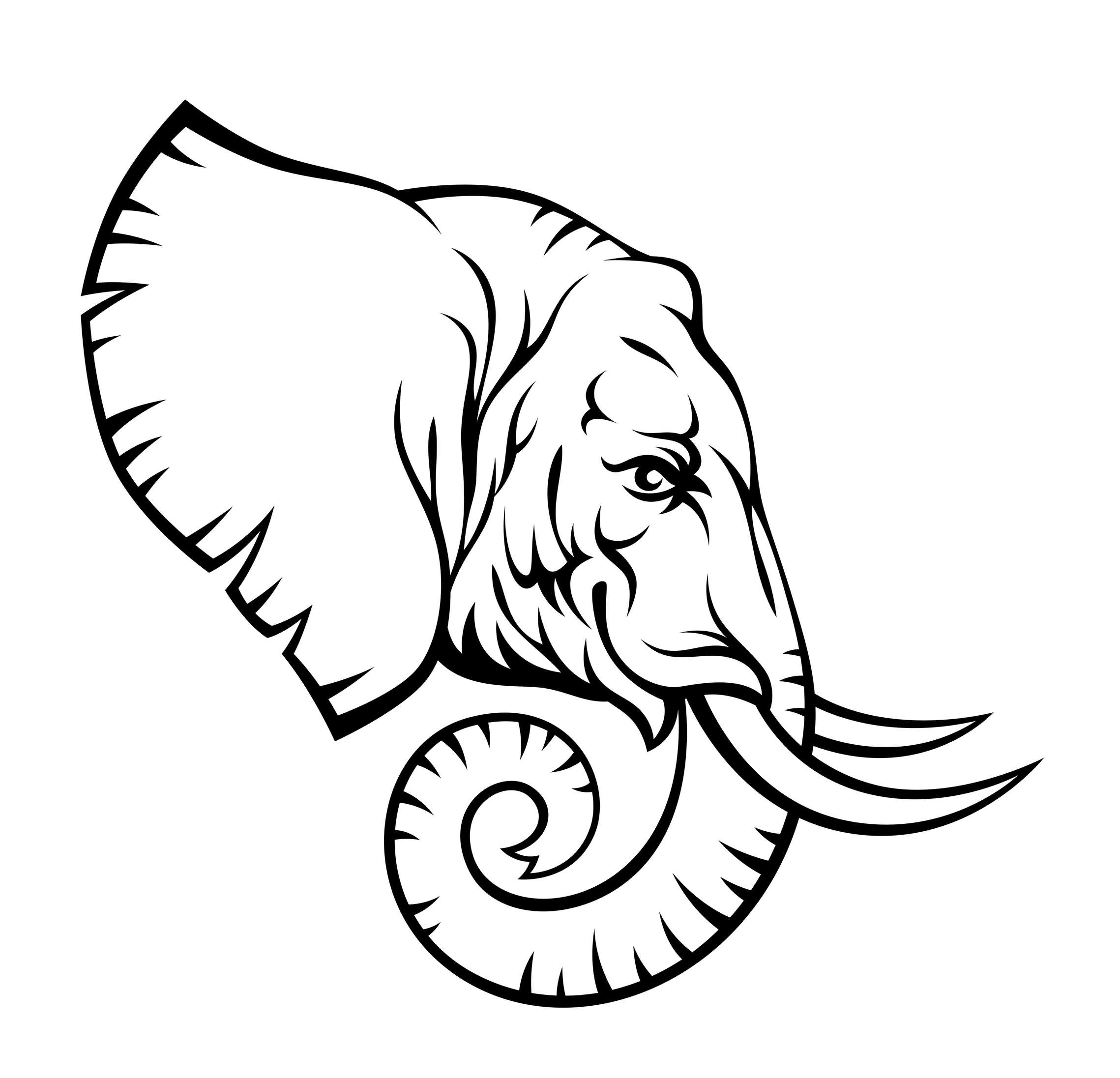 2278x2193 Black Outline Elephant Head Tattoo Stencil