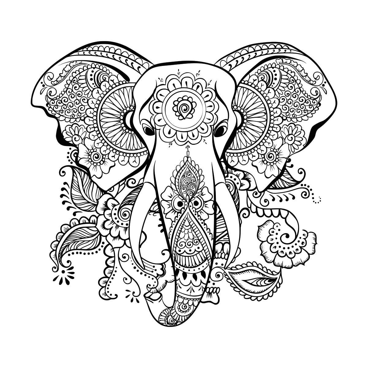 1200x1200 Ethnic Elephant Svg Mandala Elephant Svg Elephant Head Svg