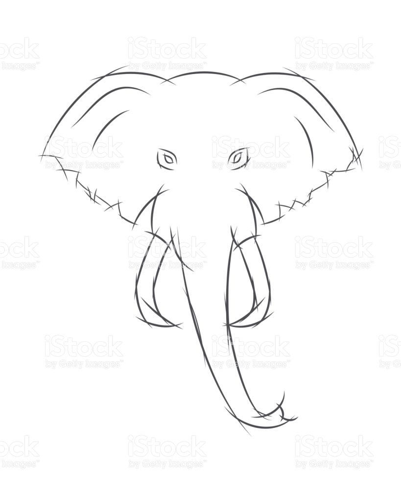 819x1024 Simple Drawing Of An Elephant Images For Head Profile Outline