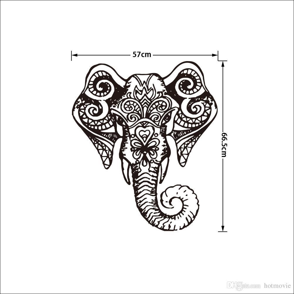 1001x1001 Elephant Indian Pattern Yoga Cute Vinyl Wall Decal Sticker Art