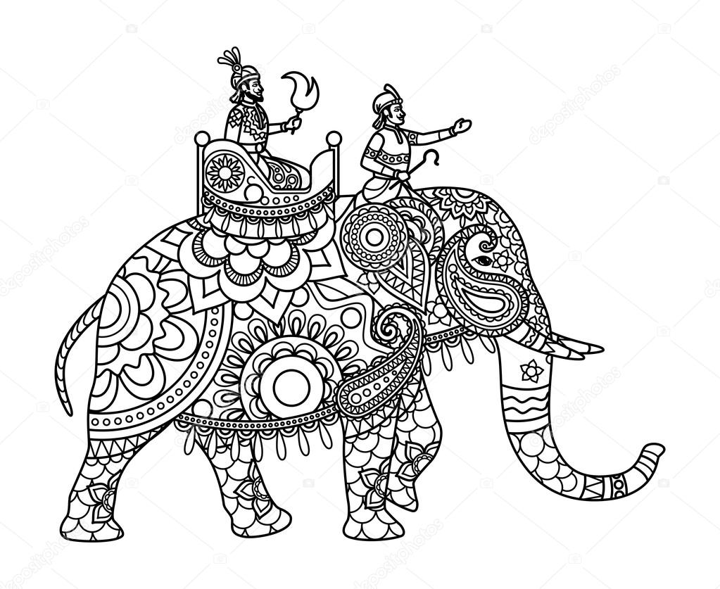 1023x837 Indian Maharajah On Elephant Coloring Pages Stock Vector