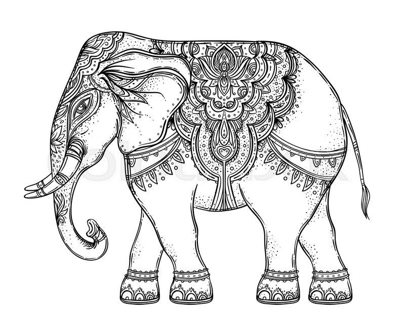 800x640 Beautiful Hand Drawn Tribal Style Elephant Over Mandala. Colorful