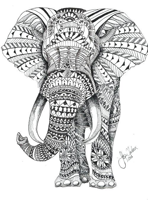 Tribal Print Elephant Coloring Page - Bltidm