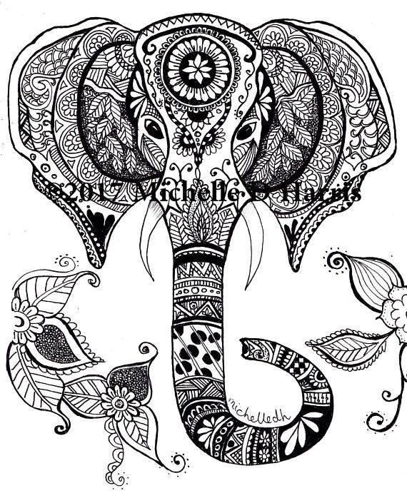 570x691 Zentangle Elephant Print Mandala Elephant Print Elephant