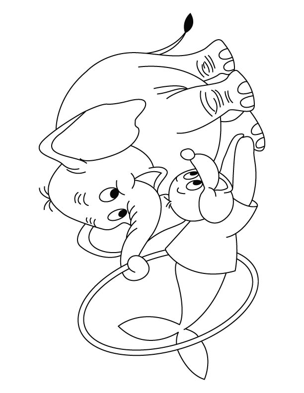 612x792 Elephant With Seal Showing Circus Coloring Page Download Free