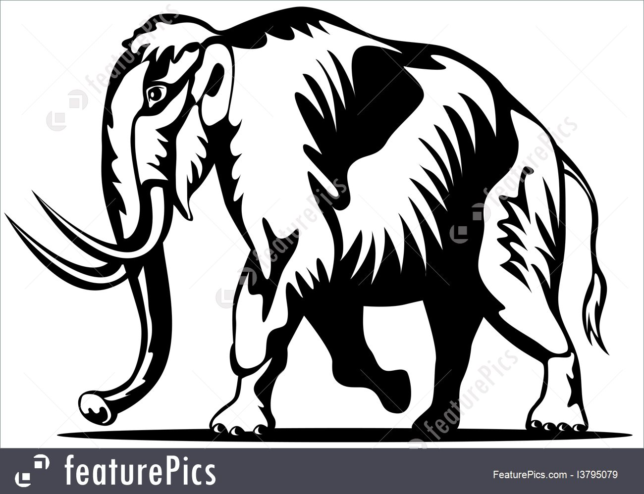 1300x998 Illustration Of Mammoth Side View