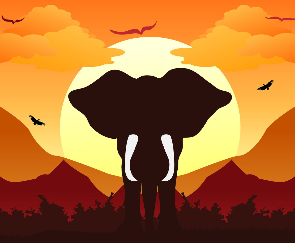 1136x936 Elephant Silhouette Background Sunset Vector Art amp Graphics