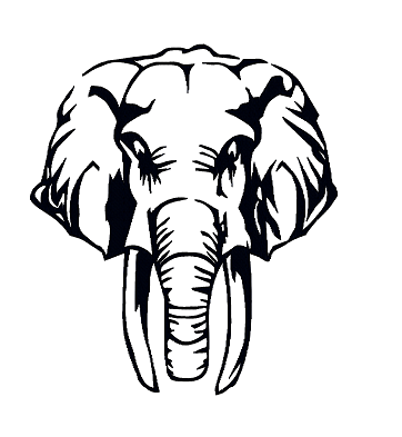 362x393 Elephant Silhouette Machine Embroidery Instant Downloads