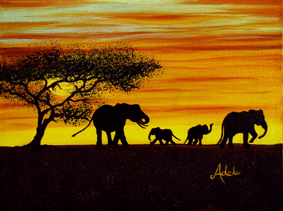 900x674 Elephant Silhouette Painting By Adele Moscaritolo