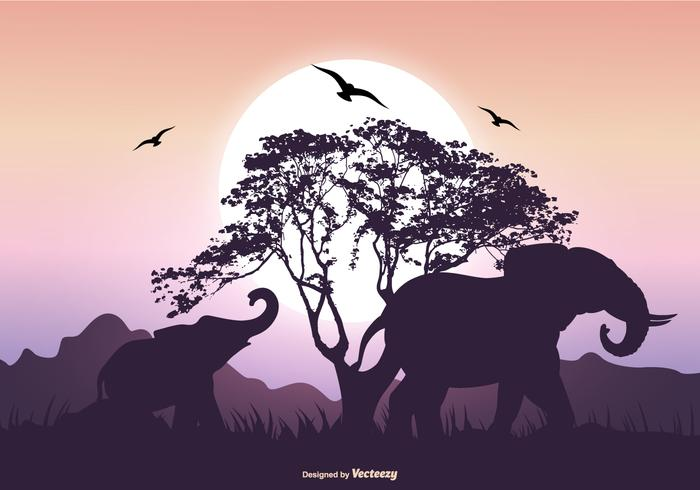 700x490 Elephant Silhouette Scene
