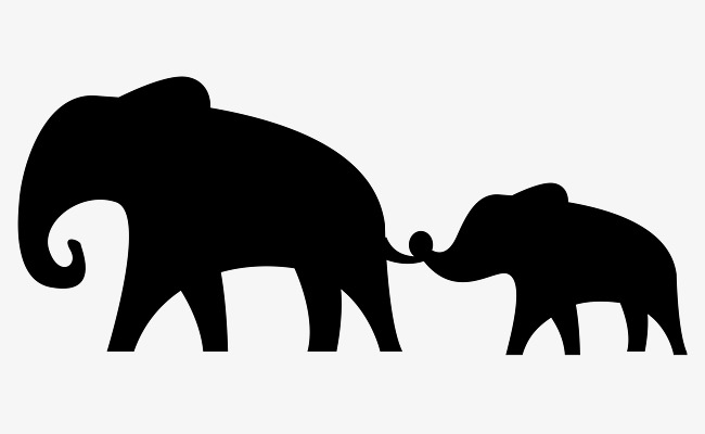 650x400 Elephant silhouette, Elephant, Silhouette, Mother And Son PNG and