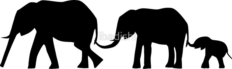 800x238 Silhouettes of 3 Elephants Holding Tails Stickers by ibadishi