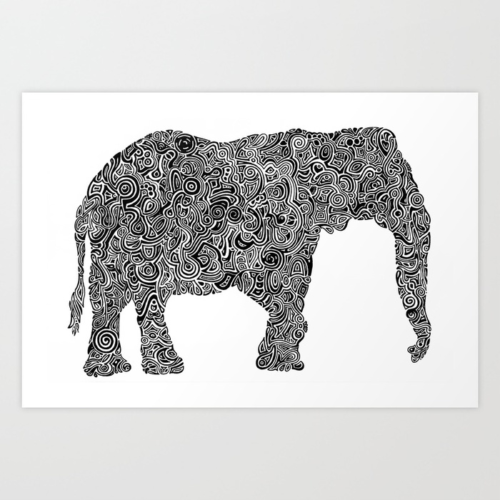 700x700 Black And White Stylized Elephant Silhouette