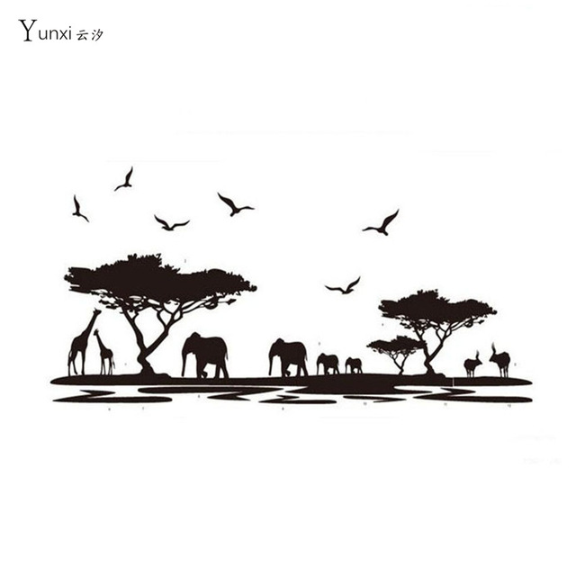 640x640 Yunxi Creative African Animal Elephant Silhouette Sticker Bedroom