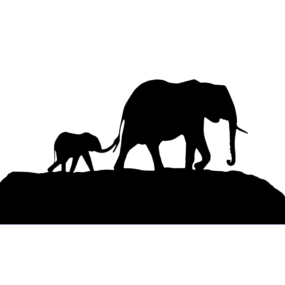 1001x1001 Elephant Family Mother Father Baby Silhouette Vinyl Sticker Car Decal