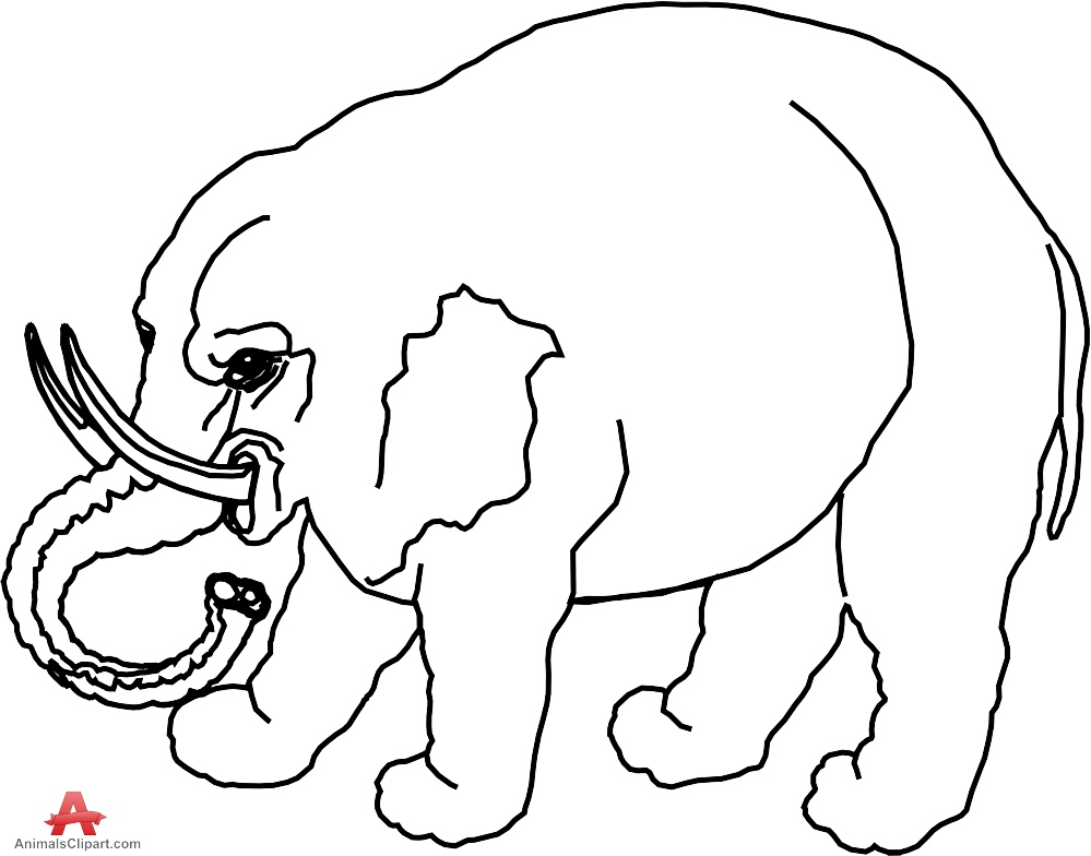 999x784 Elephant Simple Outline Drawing Clipart Free Clipart Design Download