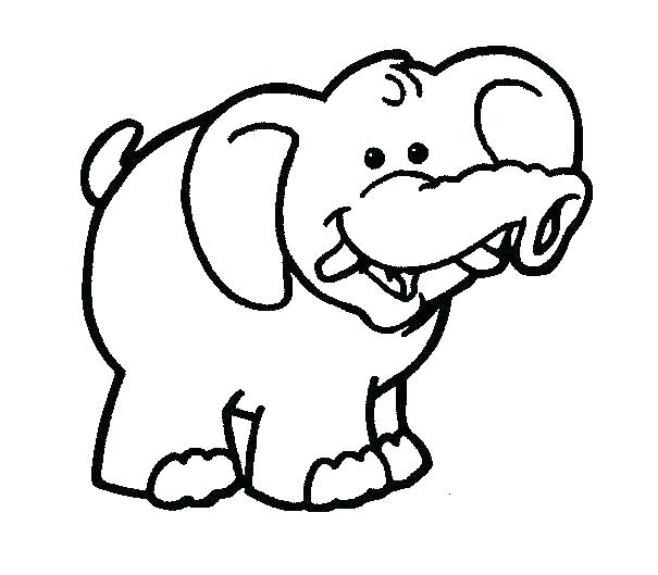 605x529 Simple Elephant Coloring Page Print Pages Baby For Kids Sheets P